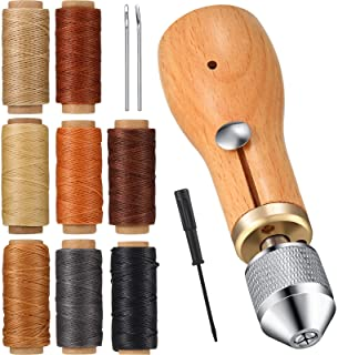 12 Pieces Sewing Awl Kit Portable Leather Sewing Awl Kit Including Handheld Sewing Repair Awl Straight and Bent Needles an...