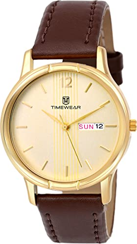 Analog Day Date Functioning Golden Case Brown Strap Watch for Men