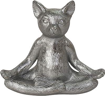 "Sagebrook Home Polyresin, 7"""" Yoga Cat, Silver, 7 x 4 x 7 (15739-02)"