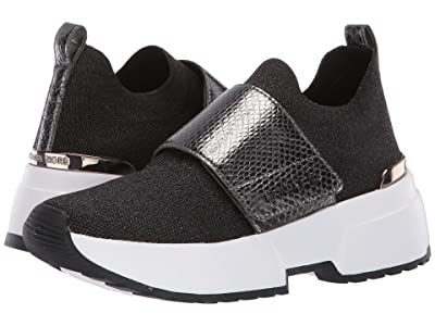 MICHAEL Michael Kors Cosmo Knit Slip-On (Black/Gun Metallic Soft Knit/Metallic Embossed Snake) Women