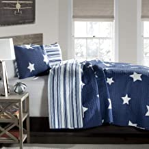 Lush Decor Navy Star Quilt-Reversible 3 Piece Pattern Striped Bedding Set with Pillow Shams-Full Queen