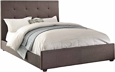 Homelegance 1890KN-1CK Upholstered Bed, Grey Fabric, California King