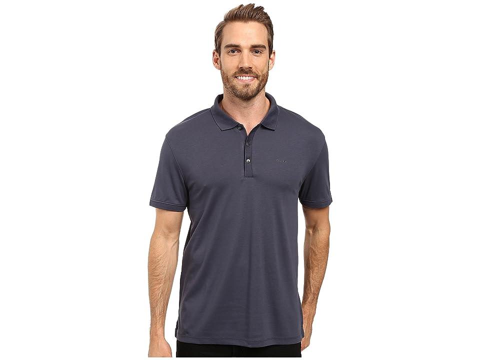 Calvin Klein Liquid Cotton Solid Short Sleeve Polo (India Ink) Men