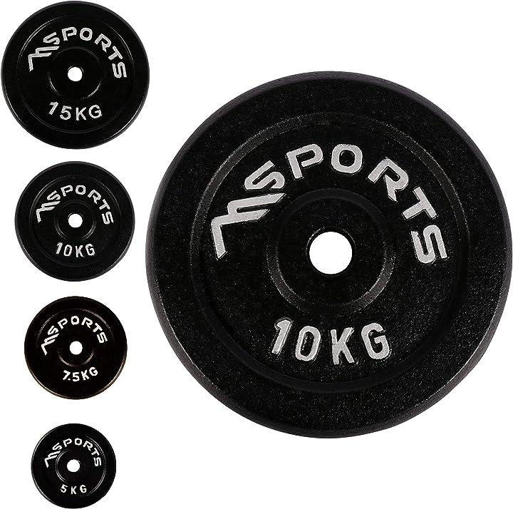 DIschi palestra Msports-coppia di dischi professionali per bilancieri e manubri, 100% ghisa,5-30 kg B01MZEMVB2