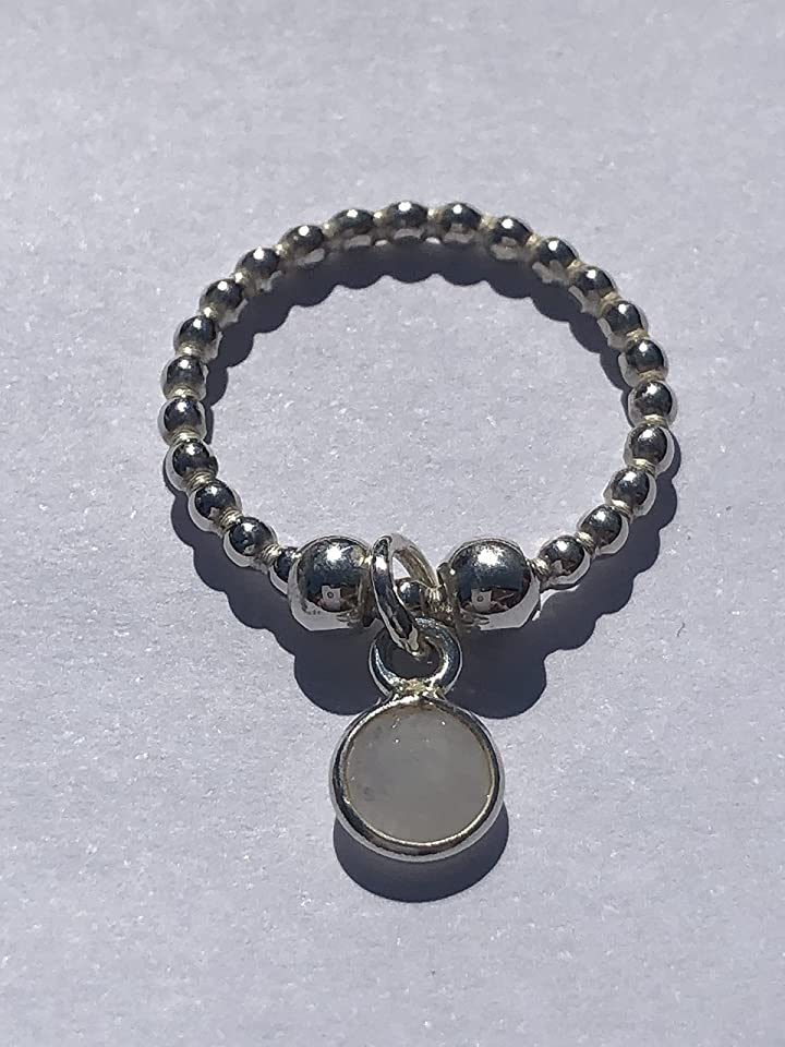 Sterling Silver Anxiety Fidget Ball Ring With Dangling Moon Stone Charm ~ Hand Made ~ ANY SIZE MADE