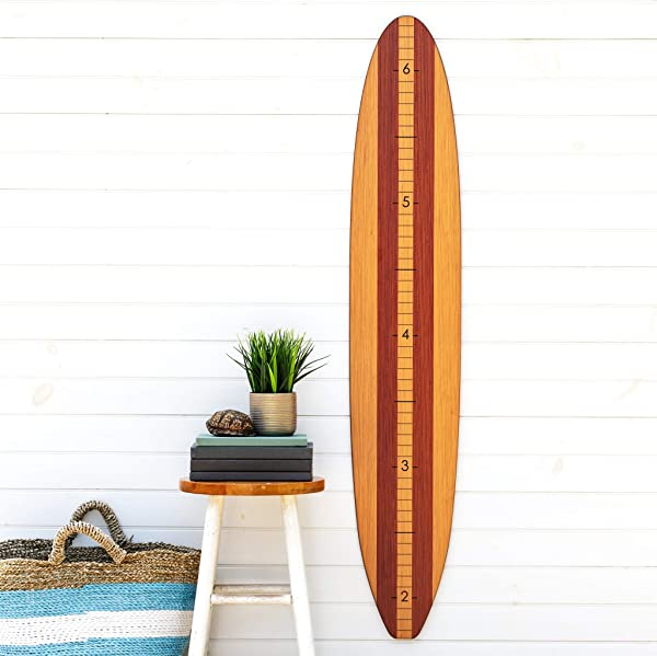 Wooden Surfboard Growth Chart For Boys Baby Shower Gift Baby Surfer Height Chart Traditional Stripe