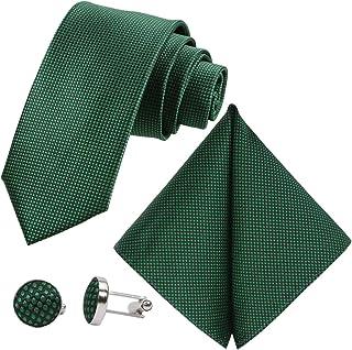 GASSANI 3-Piece Set Fine Checked Men's Tie Extra Long Pocket Square 7 Check Colours
