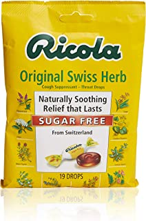 Ricola Sugar Free Swiss Herb Herbal Cough Suppressant Throat Drops, 19ct Bag (Pack of 12)