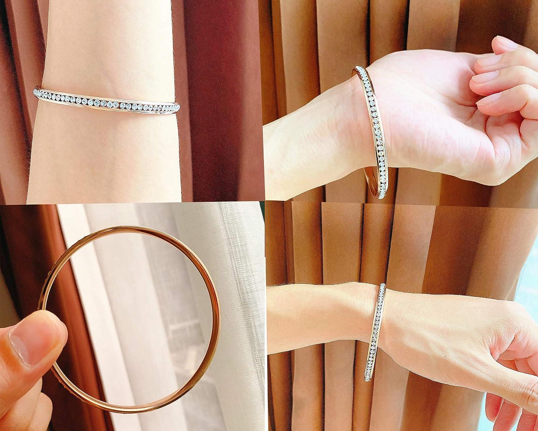 ALLEN DANMI Jewelry18 K Gold/Rose Gold/White Gold Plated Cubic Zirconia Minimalist Slip on Bangle Bracelet Shining Luxury Gift for Women.