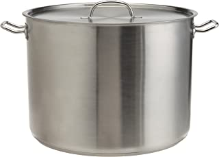 ExcelSteel 514 Heavy Duty Stainless Steel Stock Pot with Lid, 35 quarts, Silver