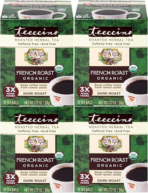 Teeccino Coffee French Roast Organic Chicory Roasted Herbal Tea Caffeine Free Acid Free Prebiotic 10 Tea Bags Pack Of 4
