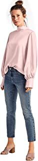 Women's Plus Size Satin Tie-Back Mockneck Blouse