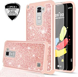 LeYi LG Stylo 2 / Stylo 2 Plus/Stylo 2V / Stylus 2 Glitte Case with Tempered Glass Screen Protector [2 Pack] for Women Girls, Heavy Duty Shockproof Protective Case for LG LS775 TP Rose Gold