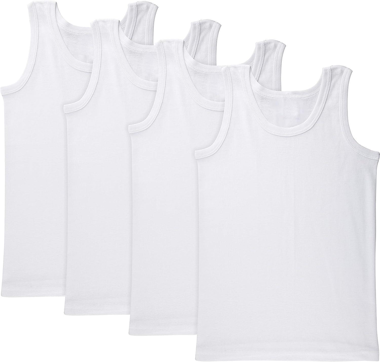 Brix Boys' White Tanktop Undershirt - Tagless 100% Cotton Super Soft 4-Pack Tees