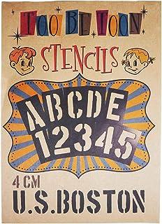 ステンシルシート アルファベット大文字&数字セット U.S.BOSTON (4cm)