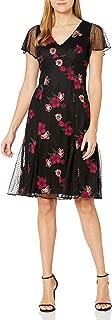 Adrianna Papell Womens AP1D103662 Floral Embroidery Boho Dress Short Sleeve Dress - Multi