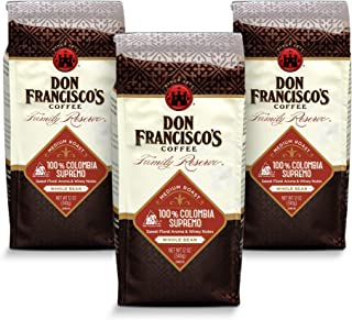 Don Francisco's Whole Bean Colombia Supremo, Medium Roast Coffee (3 x 12-Ounce Bags)