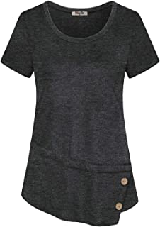Hibelle Womens Short Sleeve Round Neck Flowy Casual Tunic T-Shirt Top