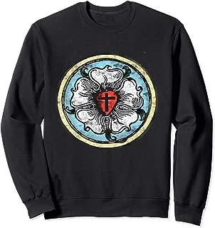 Martin Luther Rose Lutheran Symbol Distressed Chalk 5 Solas Sweatshirt