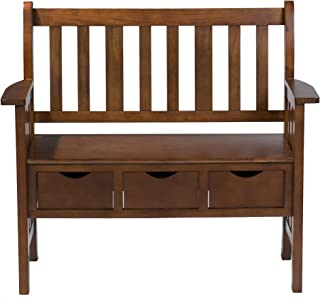 3 Drawer Storage Entryway Bench - Space Saving Drawers - Country Oak Wood Finish
