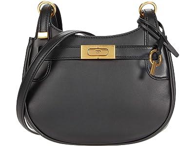 Tory Burch Lee Radziwill Small Saddlebag (Black) Handbags