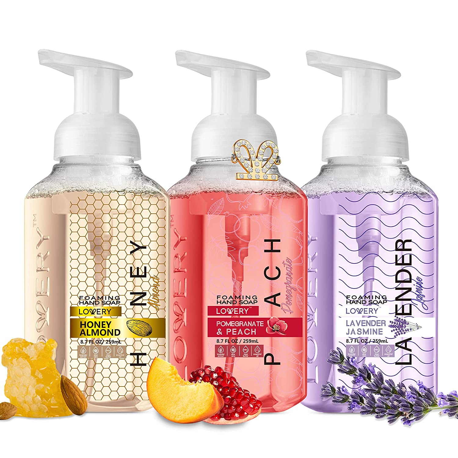 Lovery Foaming Hand Soap - Pack of 3 - Moisturizing Hand Soap with Aloe Vera & Essential Oils - Alcohol-Free Hand Wash in Honey Almond, Pomegranate Peach, Lavender Jasmine Scent - Scented Hand Wash for Kitchen or Bathroom - Free Swarovski Bracelet