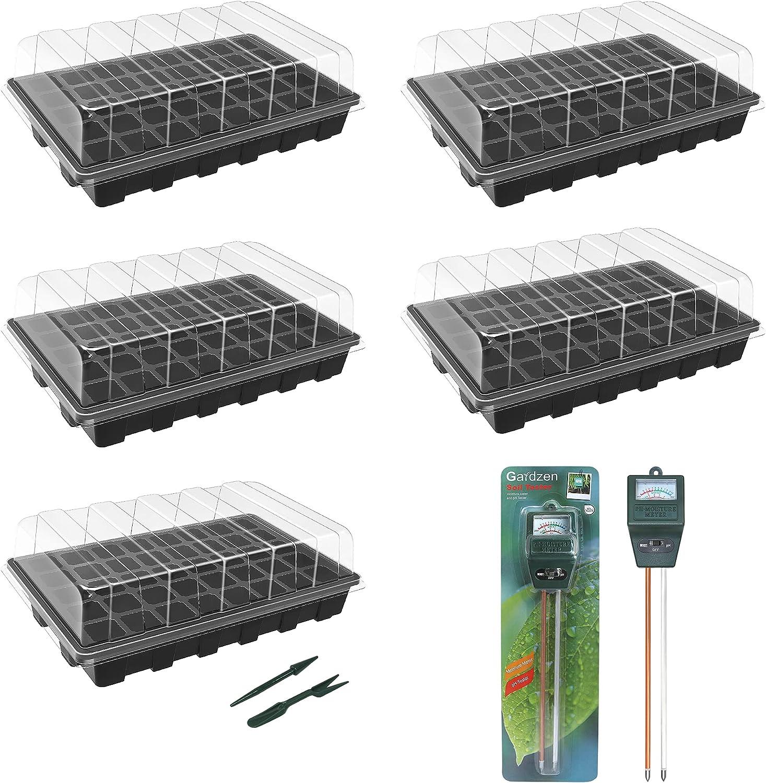 Gardzen New sales 5-Pack Seed Trays with 2-in-1 Soil Luxury goods Set Digital Tester