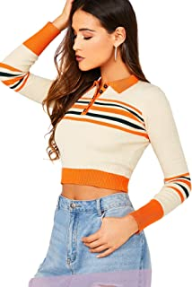 SheIn Women's Basic Long Sleeve Striped Rib Knit Button Collar Crop Tops Sweater
