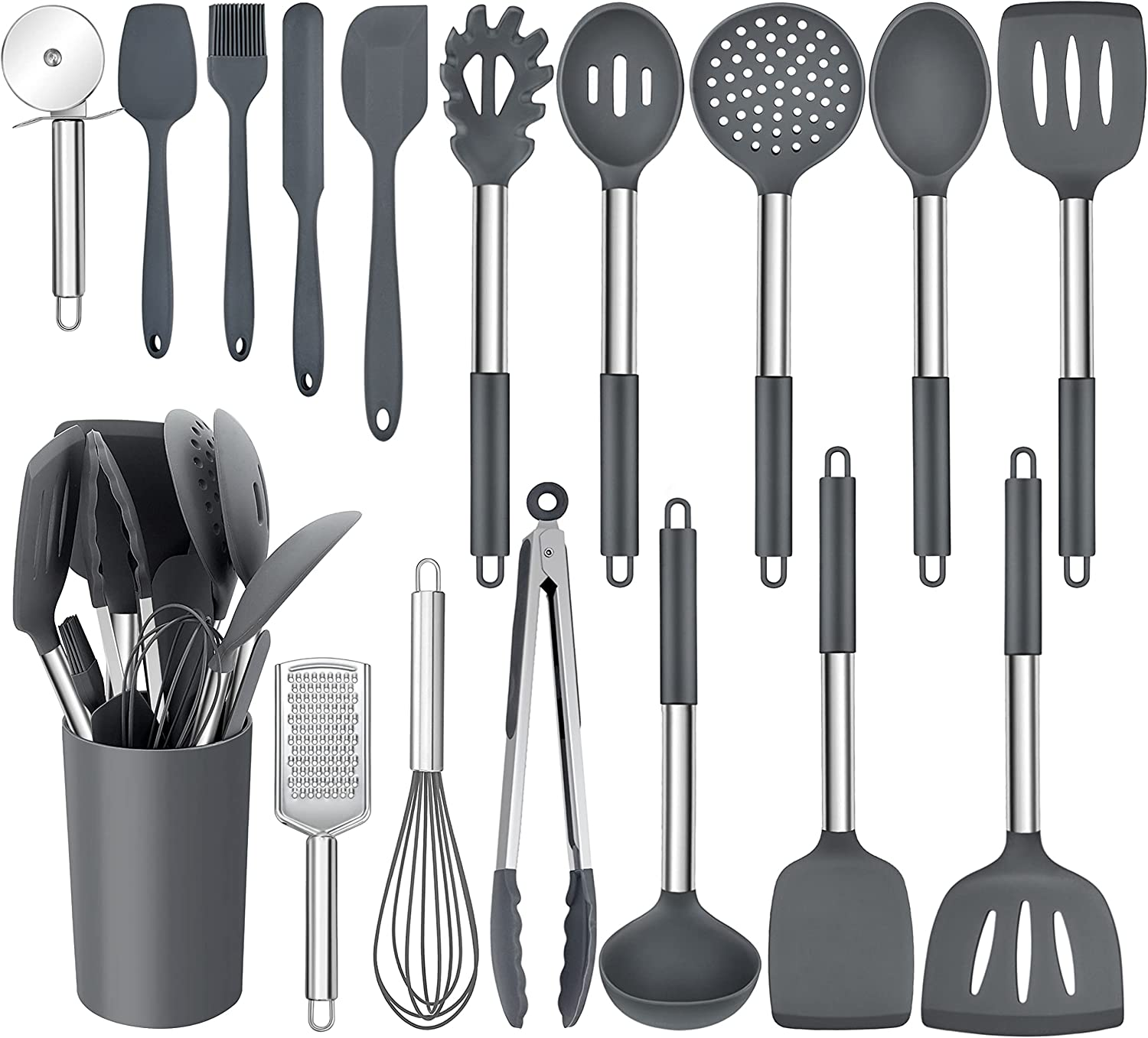 Fresno Mall Homikit 17 Pieces Silicone Kitchen Gray Utensils Holder Co with Clearance SALE Limited time