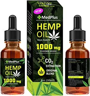 MedPlus 1000 Mg Ultra Strong Pharm Grade Hemp Oil for Pain, Anxiety & Stress Relief- Helps with Sleep, Skin & Hair and antidepressants