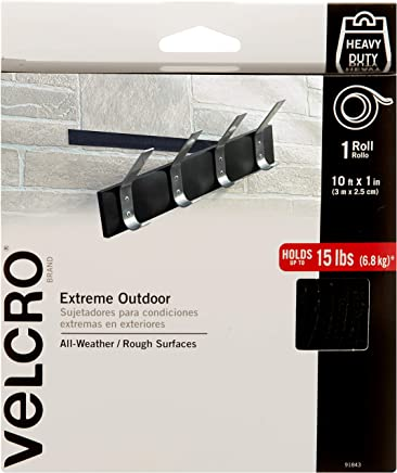 VELCRO Brand - Industrial Strength Extreme Outdoor | Heavy Duty, Superior Holding Power on Rough Surfaces | Tape – 10ft x 1in | Black