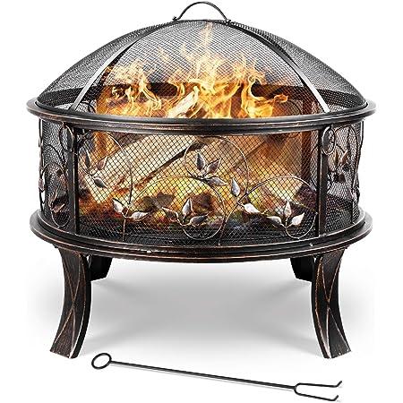 Stahl Feuerschale 66cm antik bronze Feuerstelle schwarz Klassik Stil Feuerkorb