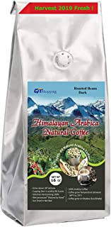 Himalayan Arabica Organic Medium Dark Roasted Coffee Beans (1LB) Cupping Score 90 Grow on Sunshade 100% Hand Picked Sun Dried World's Best Natural M. Dark Roasted Beans Coffee of Himalayas, Nepal