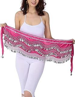 Velvet Belly Dance Wave jingling Coin Hip Scarf Skirt Egyptian Tribal