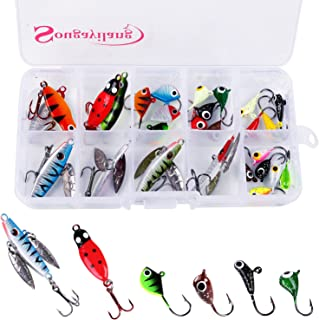 Sougayilang Ice Fishing Jigs with Treble Hook Jig Heads Fishing Lures for Walleye Winter ice Jigging