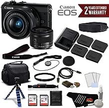 Canon EOS M100 Mirrorless Digital Camera with 15-45mm Lens (Black) 2209C011 International Version - Premium Bundle