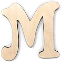"Gocutouts 12"" Wooden Letter M Unfinished 1/4"" Wooden Letters Paint Ready Unfinished Wall Decor Craft Cutout (12"" - 1/4"" Th..."