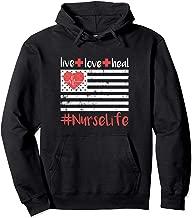 Nurse American Flag Live Love Heal Quote Nursing Life Career Pullover Hoodie