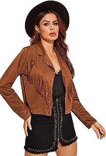 Floerns Women's Classy Faux Sude Leather Tassel Biker Crop Jacket Coat