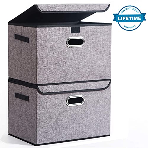 Seckon Collapsible Storage Box Container Bins with Lids Covers[2Pack] Large Odorless Linen Fabric Storage Organizers Cube with Metal Handles for Office, Bedroom, Closet, Toys