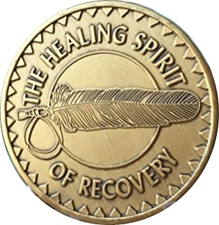 Wendells Healing Spirit Of Recovery Native American Feather Bronze Medallion Chip