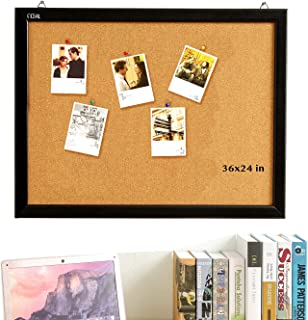 Cork Board 24 x 36 Inch Bulletin Board, Cork Notice Board 100% Wood Framed Brazil Imported, Mounting Hardware Push Pins Included