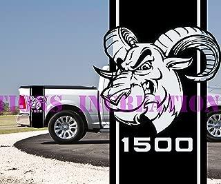 Hemi Dodge 1500 Ram Bed Stripes Truck Decals Mopar Stickers Vynil Side Car Graphics (Black)