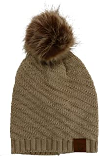 Karen Keith Women's Slouch Beanie with Swirl Design and Pom