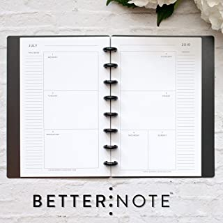 BetterNote July 2019- June 2020 Horizontal Weekly & Monthly Calendar for Disc-Bound Planner, Half Letter Size, Fits 8 Disc Circa Junior, Arc Jr, 5.5