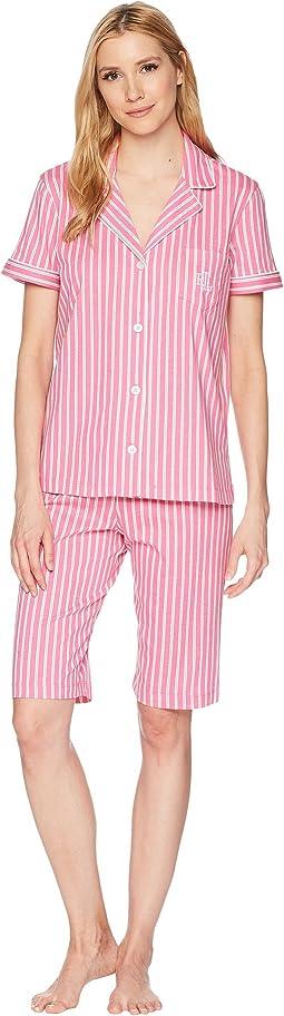 Short Sleeve Notch Collar Bermuda Shorts PJ Set