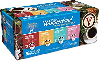 Victor Allen's Coffee Winter Wonderland 96ct Flavored Variety Pack (Peppermint Bark, Cinnamon Bun, Sugar Cookie, Vanilla B...