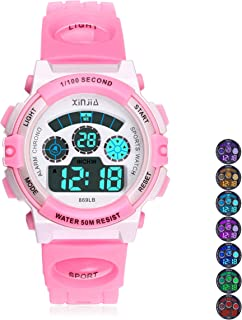 Kids Digital Watch, Boys 50M(5ATM) Waterproof 7 Colors LED Multifunctional Sports Outdoor Wrist Watches with Alarm for Chi...