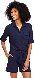 J.McLaughlin Womens Westport Romper in Raffia Jacquard in Navy Blue with Adjustable Drawstring Waist