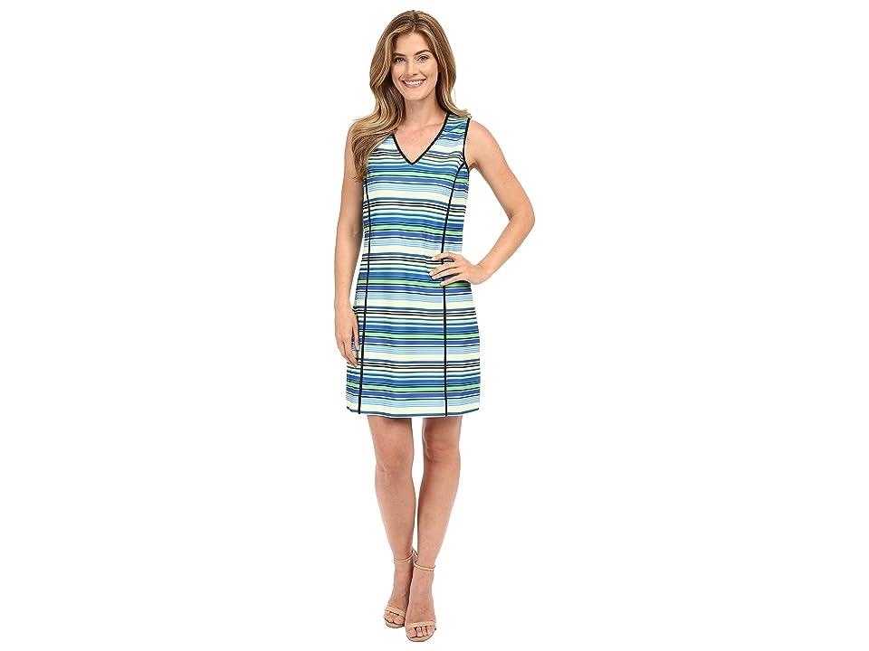 Adrianna Papell Print V-Neck Sleeveless Shift Dress (Blue Multi) Women